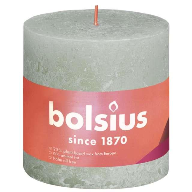"""Świeca pieńkowa """"Rustic"""", zielony mglisty, Bolsius, 100/100 mm"""