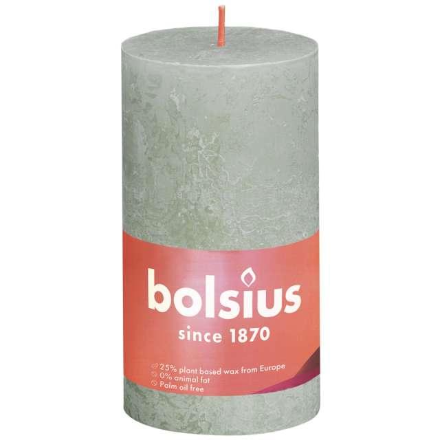 """Świeca pieńkowa """"Rustic"""", zielony mglisty, Bolsius, 130/68 mm"""