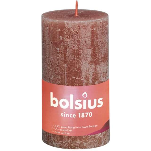 """Świeca pieńkowa """"Rustic"""", brązowy zamszowy, Bolsius, 130/68 mm"""