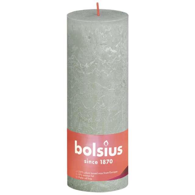 """Świeca pieńkowa """"Rustic"""", zielony mglisty, Bolsius, 190/68 mm"""