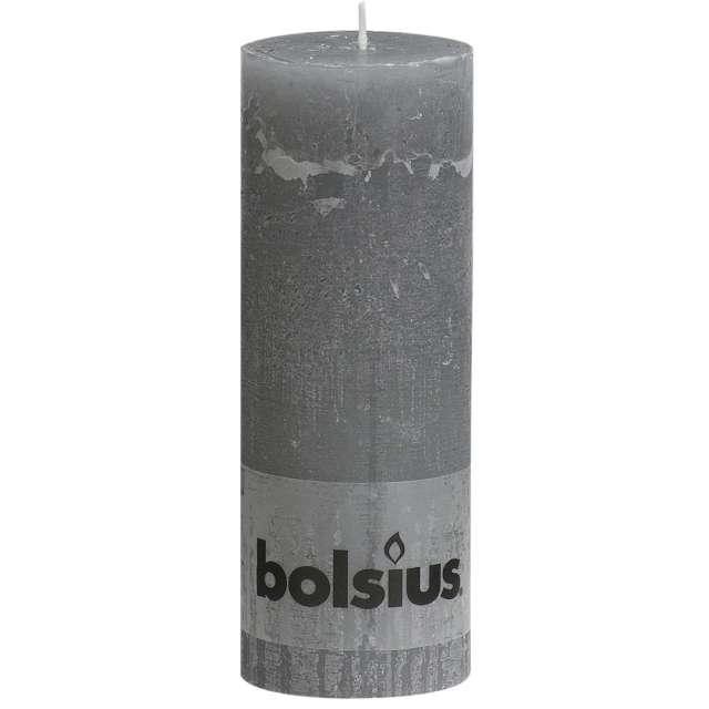 """Świeca pieńkowa """"Rustic"""", szary jasny, Bolsius, 190/68 mm"""