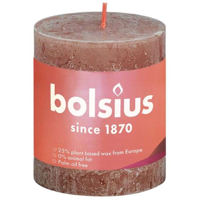 """Świeca pieńkowa """"Rustic"""", brązowy zamszowy, Bolsius, 80/68 mm"""