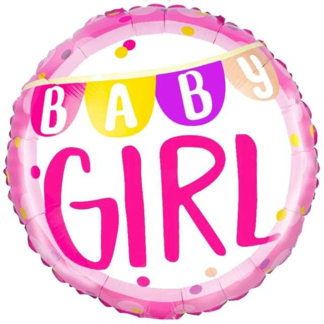 "Balon foliowy ""Baby Girl"", różowy, PartyPal, 18"", RND"