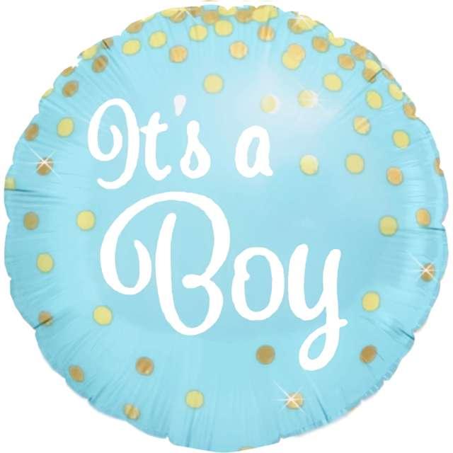 """Balon foliowy """"Baby Shower - Its a Boy"""", błękitny, PartyPal, 18"""", RND"""