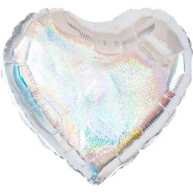 "Balon foliowy ""Serce Holograficzne"", srebrne, 18 cali, PartyPal, HRT"