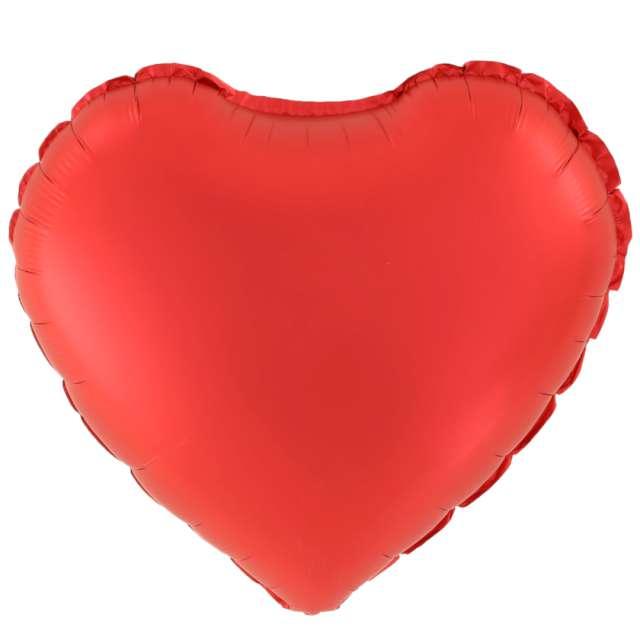 "Balon foliowy ""Serce Matowe"", czerwone, 18 cali, PartyPal, HRT"