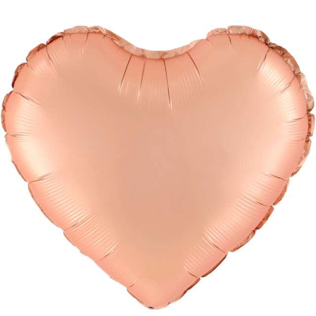 """Balon foliowy """"Serce Matowe"""", różowe złoto, 18 cali, PartyPal, HRT"""