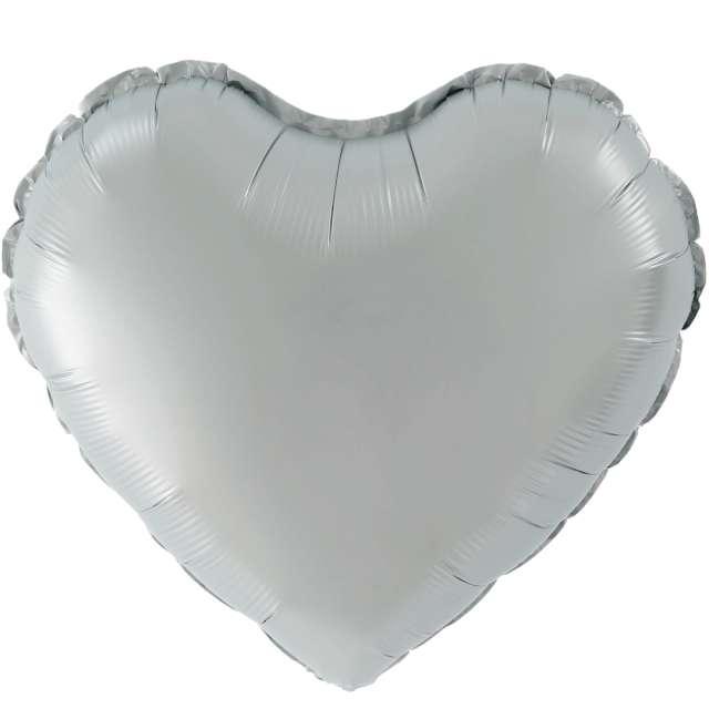 """Balon foliowy """"Serce Matowe"""", srebrny, 18 cali, PartyPal, HRT"""