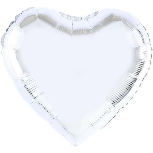 "Balon foliowy ""Serce"", srebrny, 32 cali, PartyPal, HRT"