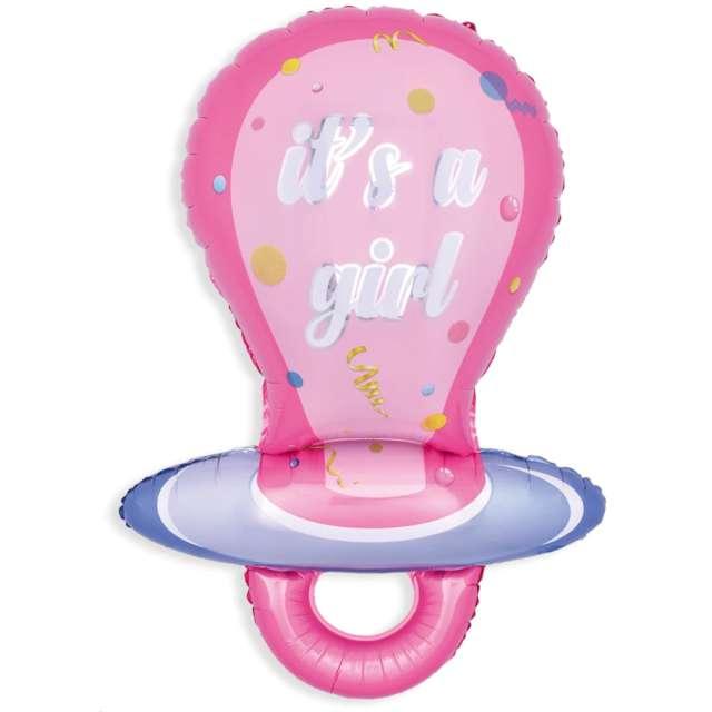"""Balon foliowy """"Smoczek Its a Girl- Baby Shower"""", różowy, PartyPal, 38"""", SHP"""