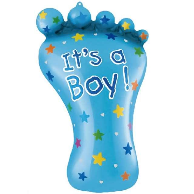 """Balon foliowy """"Stópka Its a Boy - Baby Shower"""", niebieski, PartyPal, 32"""", SHP"""