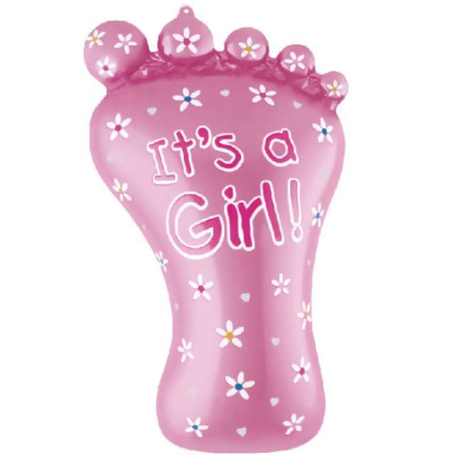 """Balon foliowy """"Stópka Its a Girl - Baby Shower"""", różowy, PartyPal, 32"""", SHP"""