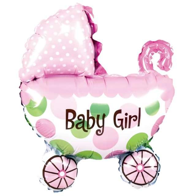 """Balon foliowy """"Wózek - Its a Girl"""", różowy, PartyPal, 32"""", SHP"""