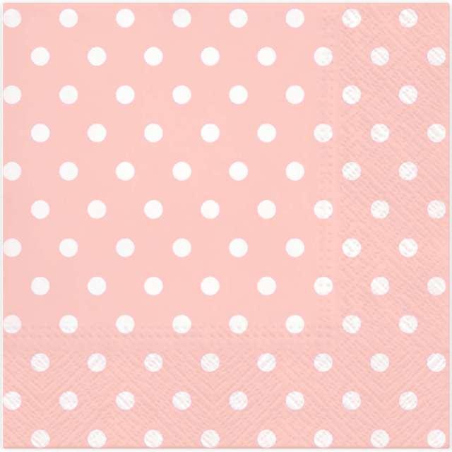 """Serwetki """"Kropki duże"""", różowe, PartyPal, 33 cm, 10 szt"""