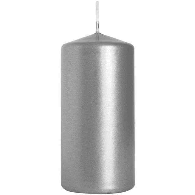 """Świeca pieńkowa """"Classic Metallic"""", srebrna, Bispol, 100/50 mm"""