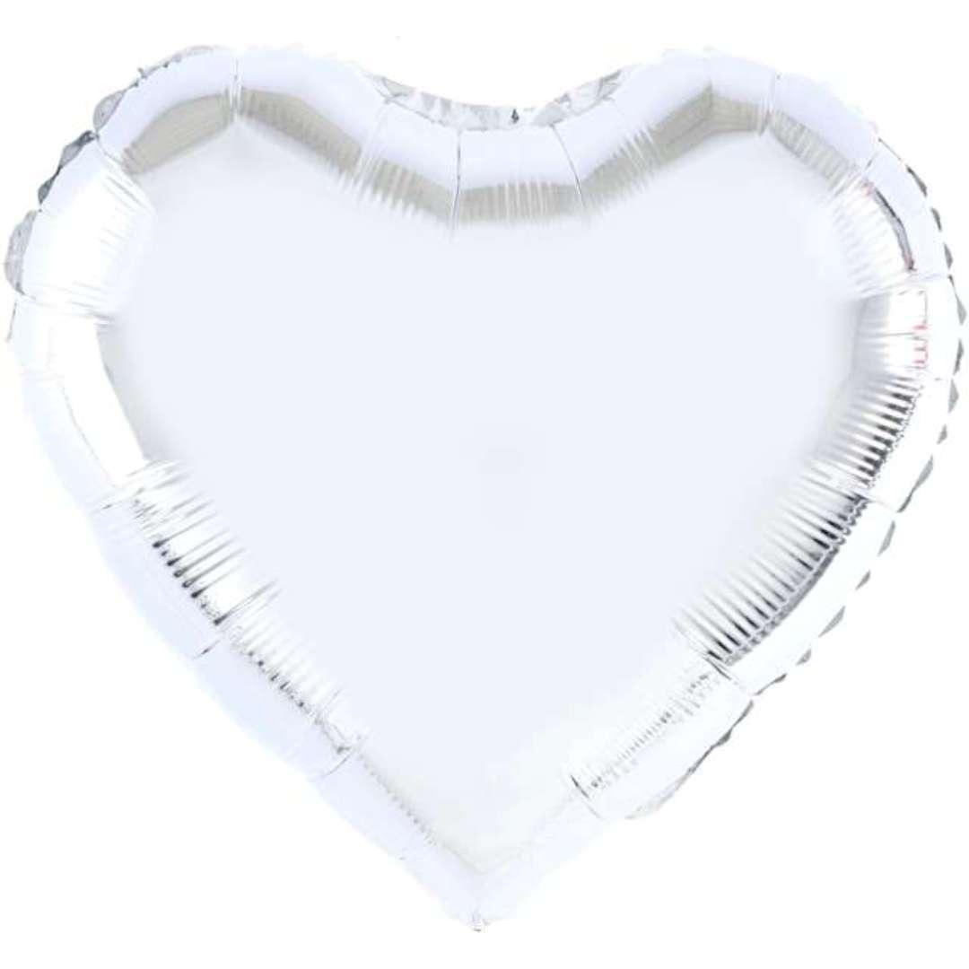"Balon foliowy ""Serce"", srebrny, 18 cali, PartyPal, HRT"