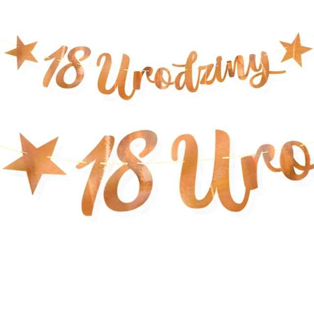 """Baner """"18 urodziny"""", różowe złoto, DekoracjePolska, 100 cm"""