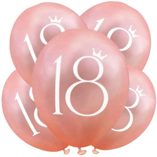 """Balony """"18 Urodziny"""", różowe złoto, DekoracjePolska, 12"""", 5 szt"""