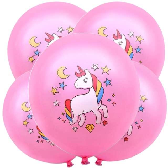 """Balony """"Magiczny jednorożec"""", różowy, DekoracjePolska, 12"""", 5 szt"""