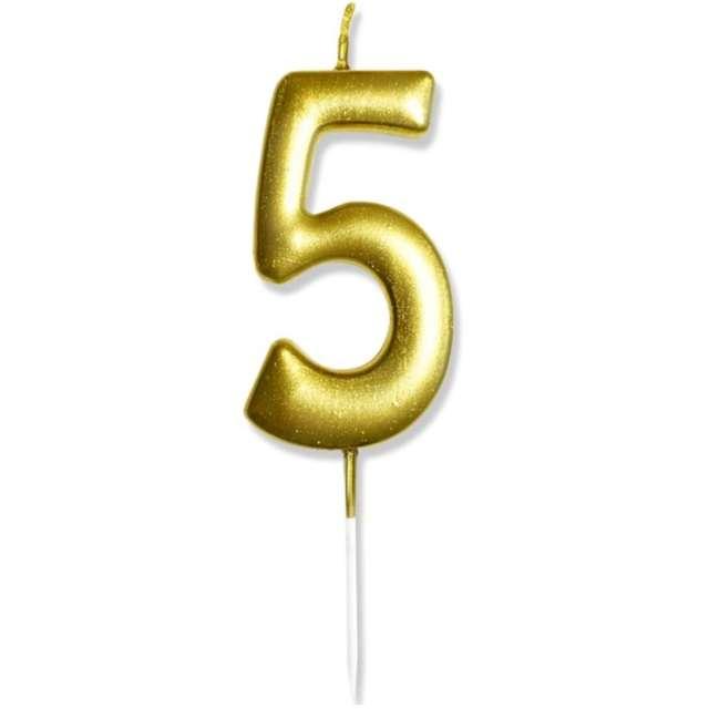 """Świeczka na tort """"Cyfra 5"""", złota, DekoracjePolska, 6,5 cm"""