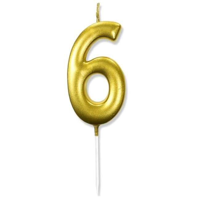 """Świeczka na tort """"Cyfra 6"""", złota, DekoracjePolska, 6,5 cm"""