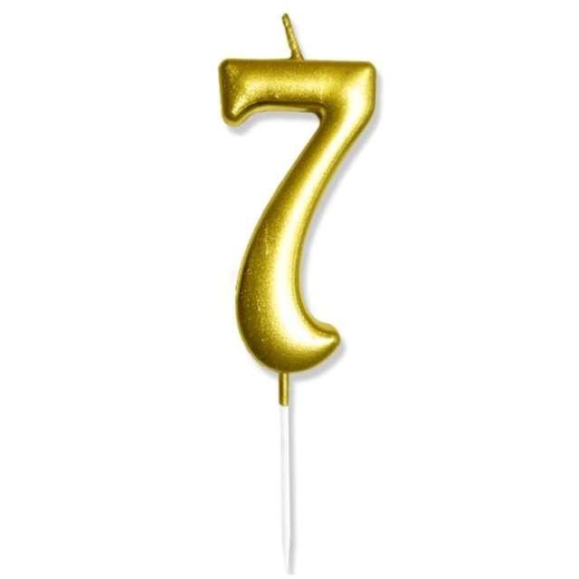"""Świeczka na tort """"Cyfra 7"""", złota, DekoracjePolska, 6,5 cm"""