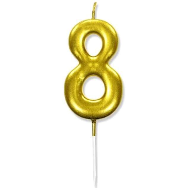 """Świeczka na tort """"Cyfra 8"""", złota, DekoracjePolska, 6,5 cm"""