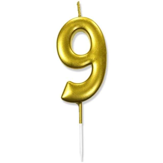 """Świeczka na tort """"Cyfra 9"""", złota, DekoracjePolska, 6,5 cm"""