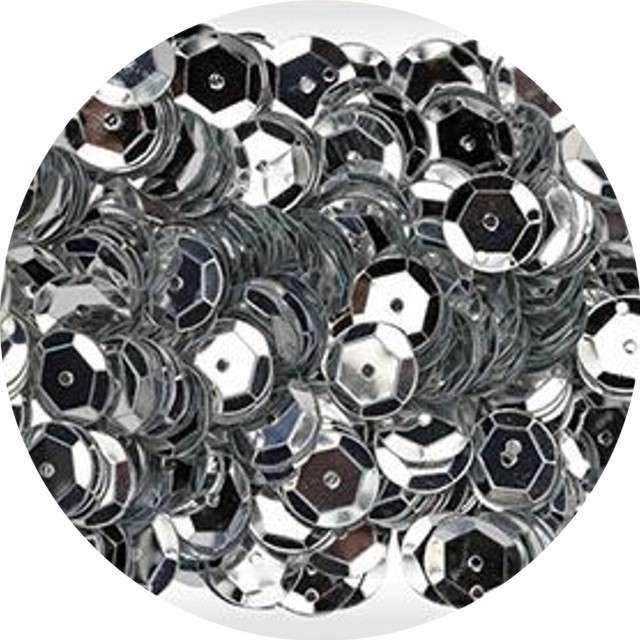 """Cekiny """"Classic Metalic"""", srebrne, 8 mm, 10 g, Aliga"""