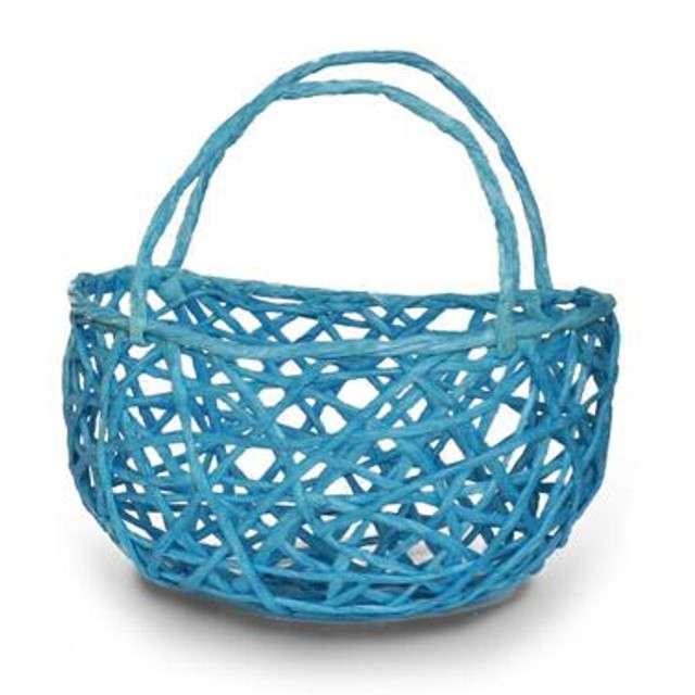 """Koszyczek papierowy """"Plecionka Niebieska"""", okrągły, Aliga"""