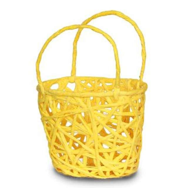 """Koszyczek papierowy """"Plecionka Żółta"""", prostokatny, Aliga"""