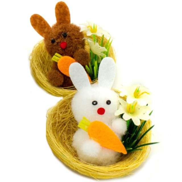 """Dekoracje """"Zestaw królik biały i brązowy w gniazdku"""", ALIGA, 2 sz"""