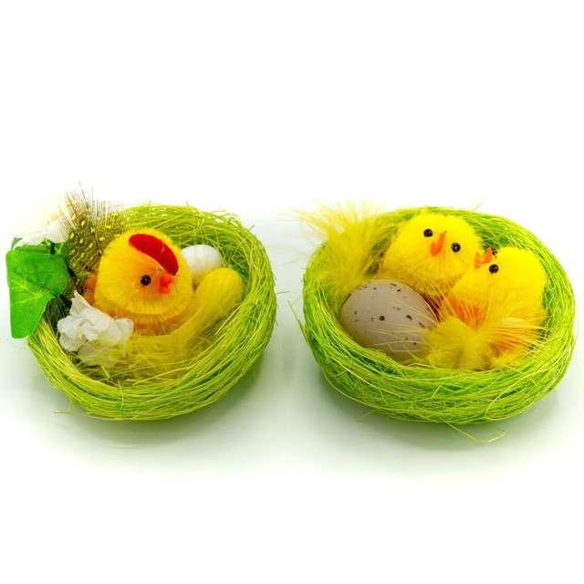 """Dekoracje """"Zestaw Kurka i kurczaki w zielonym gniazdku"""", ALIGA, 2 sz"""