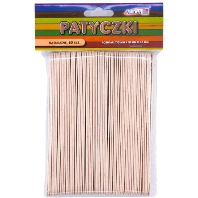 """Patyczki drewniane """"Płaskie"""", bezbarwne, Aliga, 150 mm, 60 szt"""