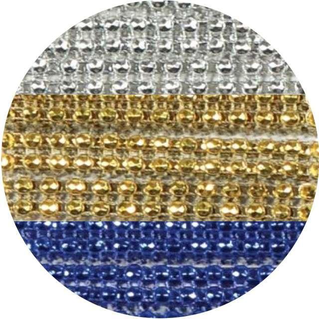Taśma dekoracyjna Cyrkonie srebrno-złoto-granatowe Aliga 1m