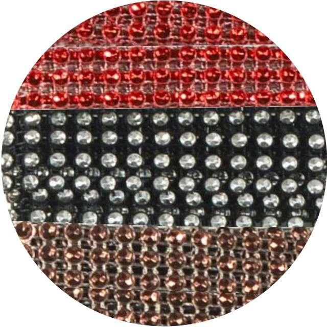 Taśma dekoracyjna Cyrkonie brąz-czerwono-czarne Aliga 1m
