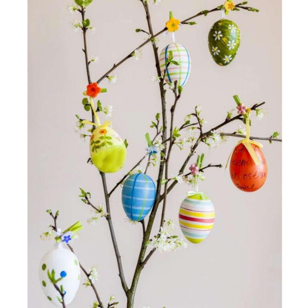 Jajka Ręcznie malowane w paski mix ALIGA 6 cm 6 szt.
