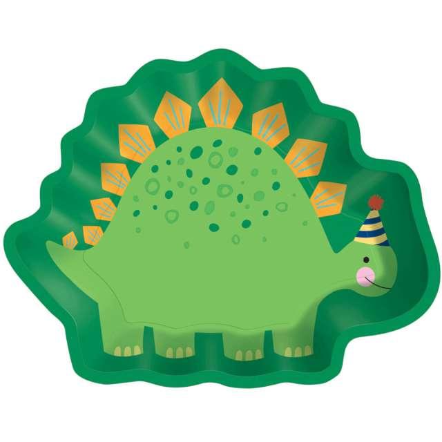 """Talerzyki papierowe """"Dinozaur w czapeczce"""", Amscan, 22 x 17 cm, 8 szt"""
