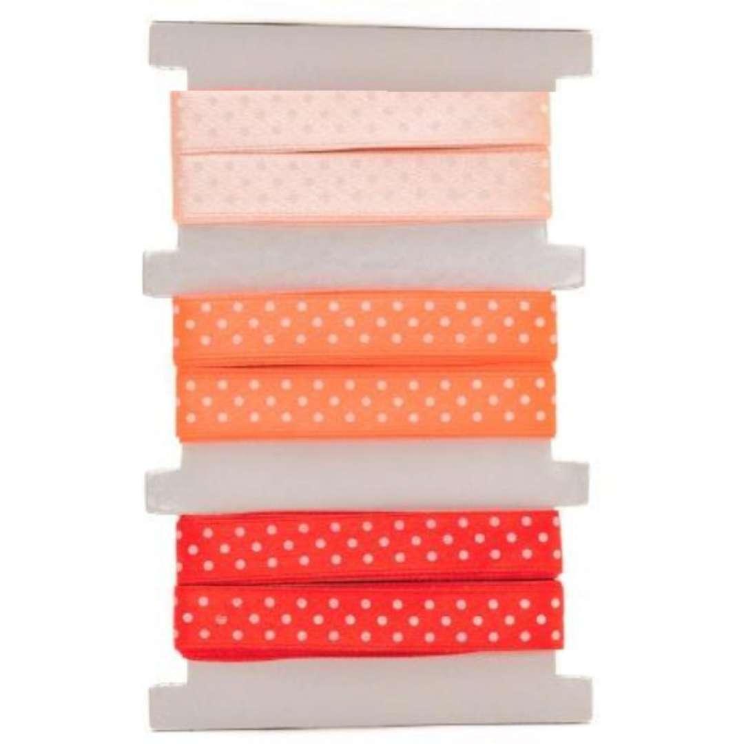 """Tasiemka satynowa """"Kropki"""", pomarańczowo-czerwona, Aliga, 12 mm, 3 m"""