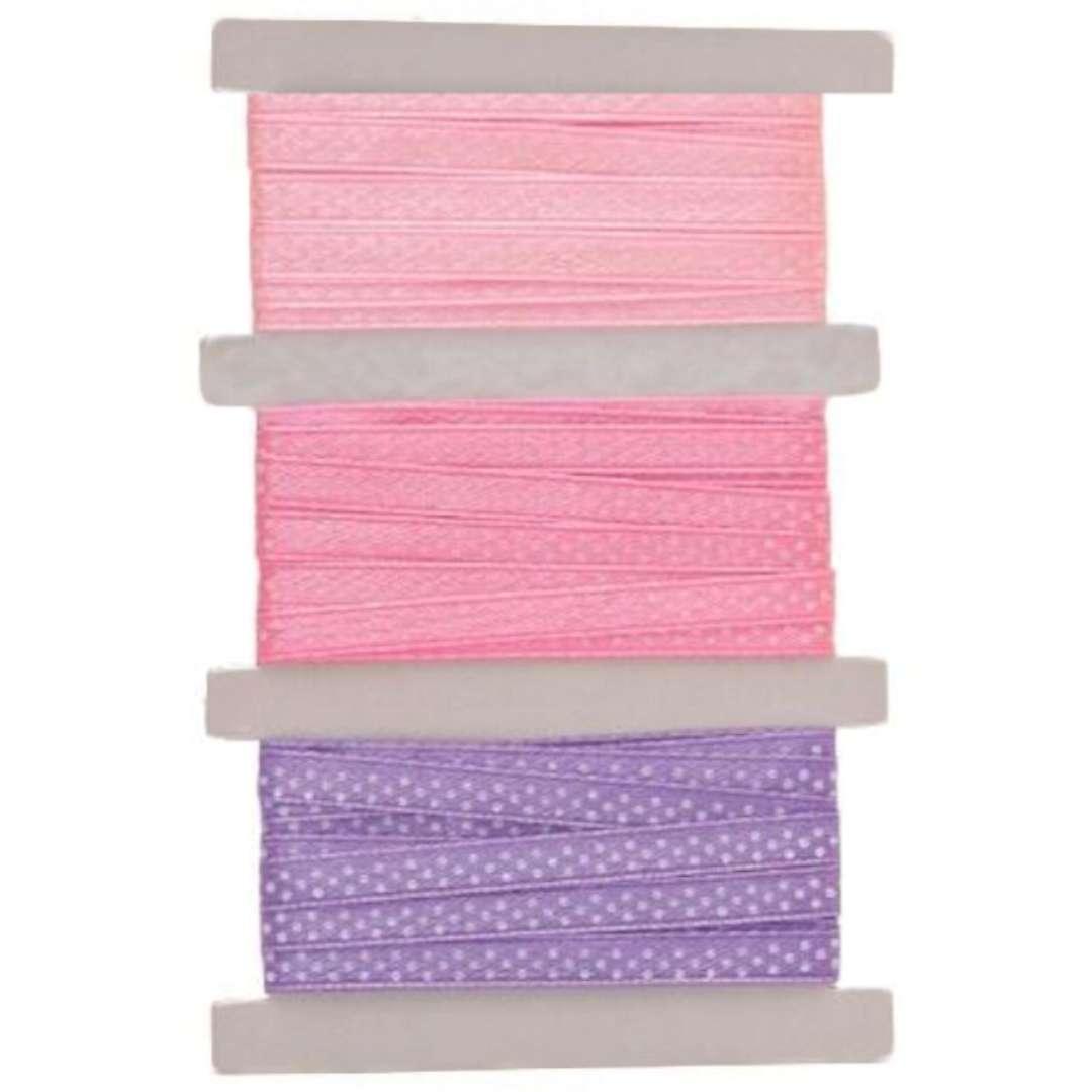 "Tasiemka satynowa ""Kropki"", różowo-fioletowa, Aliga, 6 mm, 3 m"
