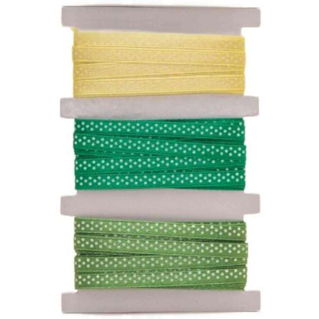 """Tasiemka satynowa """"Kropki"""", zielono-żółta, Aliga, 6 mm, 3 m"""