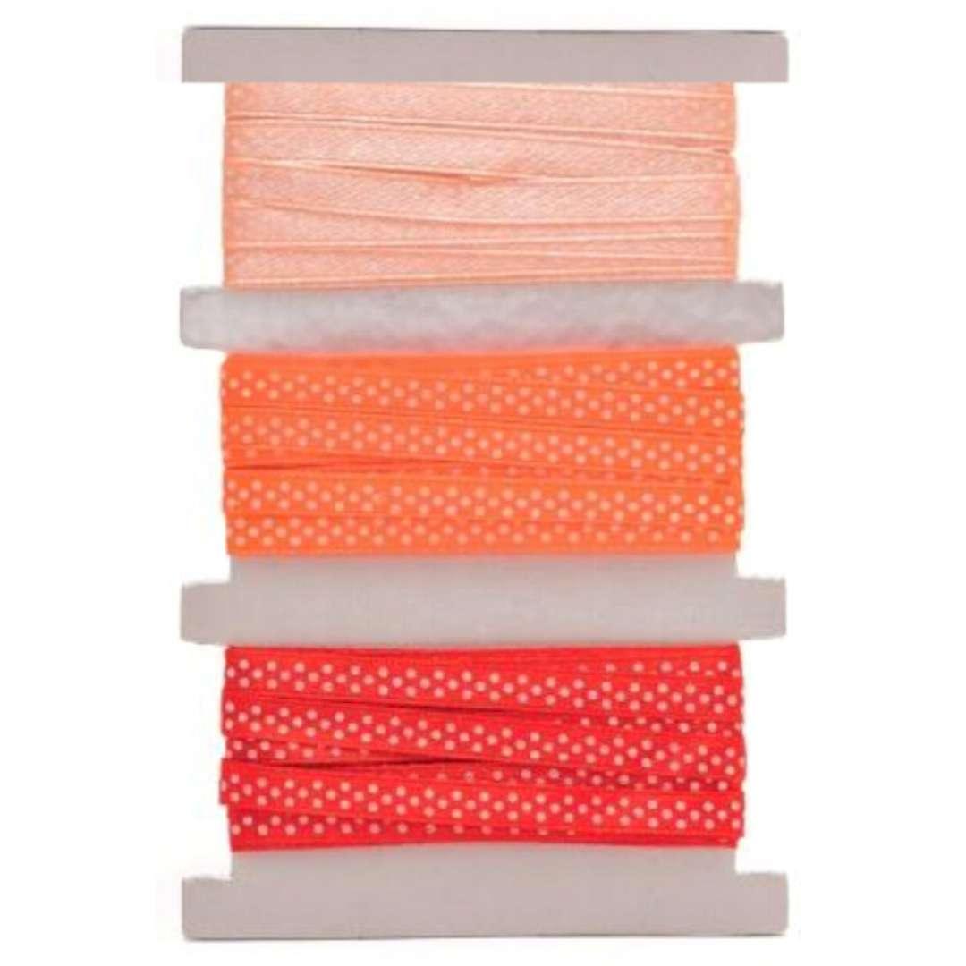 """Tasiemka satynowa """"Kropki"""", pomarańczowo-czerwona, Aliga, 6 mm, 3 m"""
