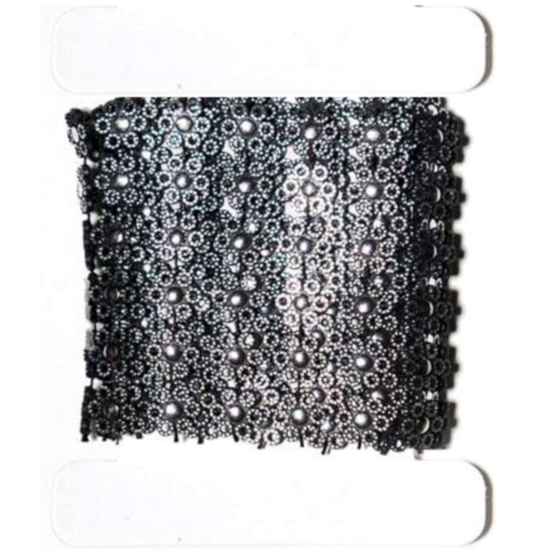 "Tasiemka koronkowa ""Kwiatki czarno-srebrna"", Aliga, 50 cm"