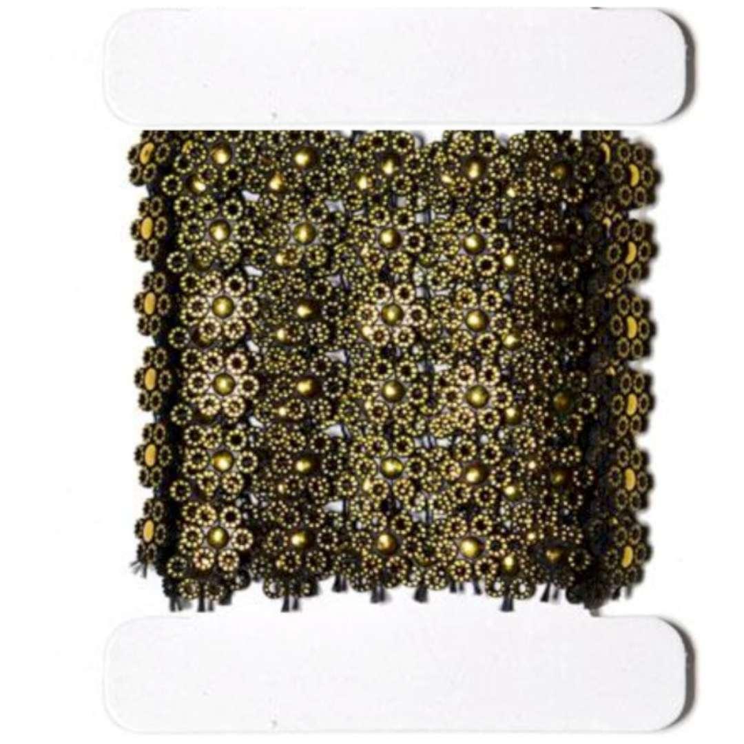 """Tasiemka koronkowa """"Kwiatki czarno-złote"""", Aliga, 50 cm"""