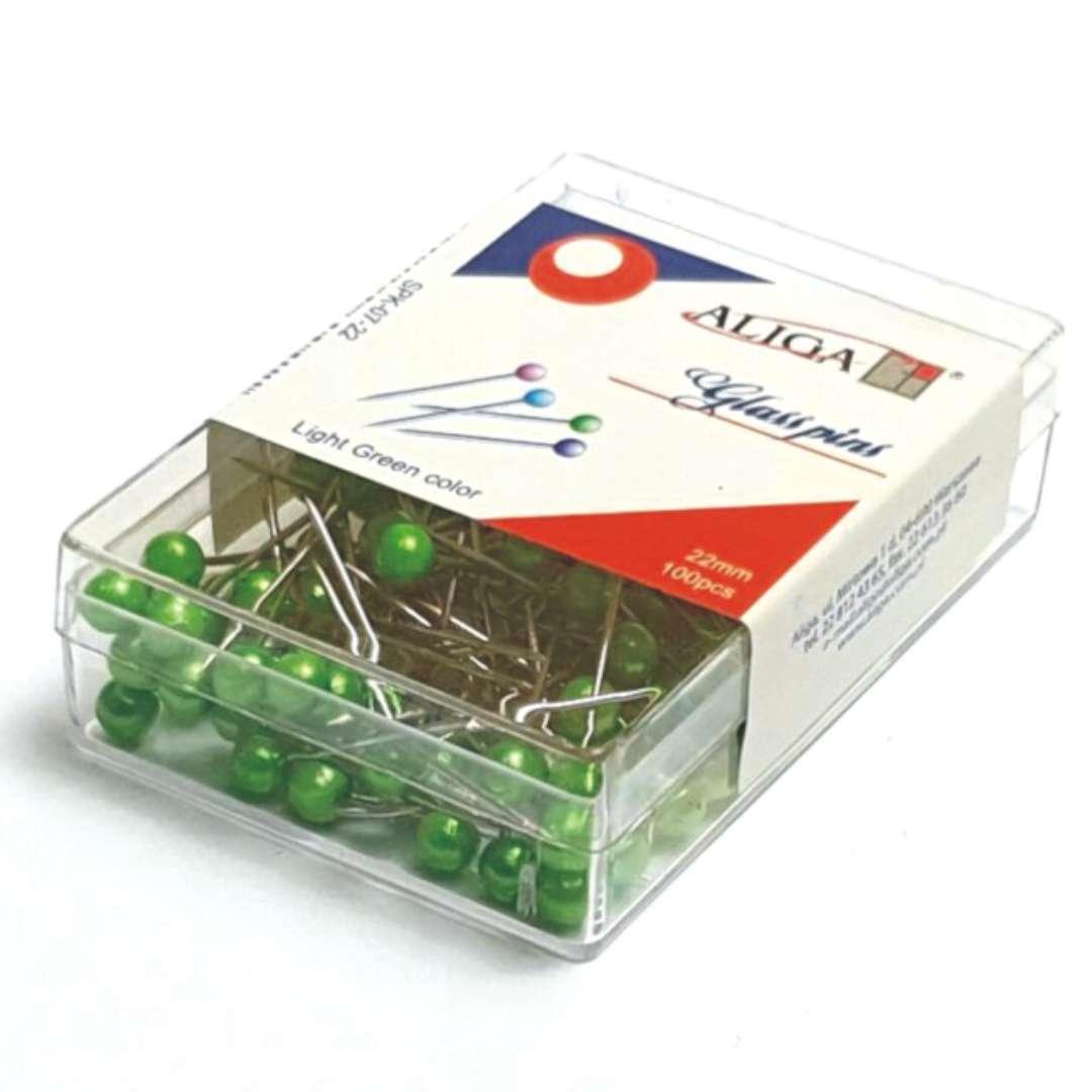 Szpilki Perełki zielone jasne 22 mm Aliga 100 szt