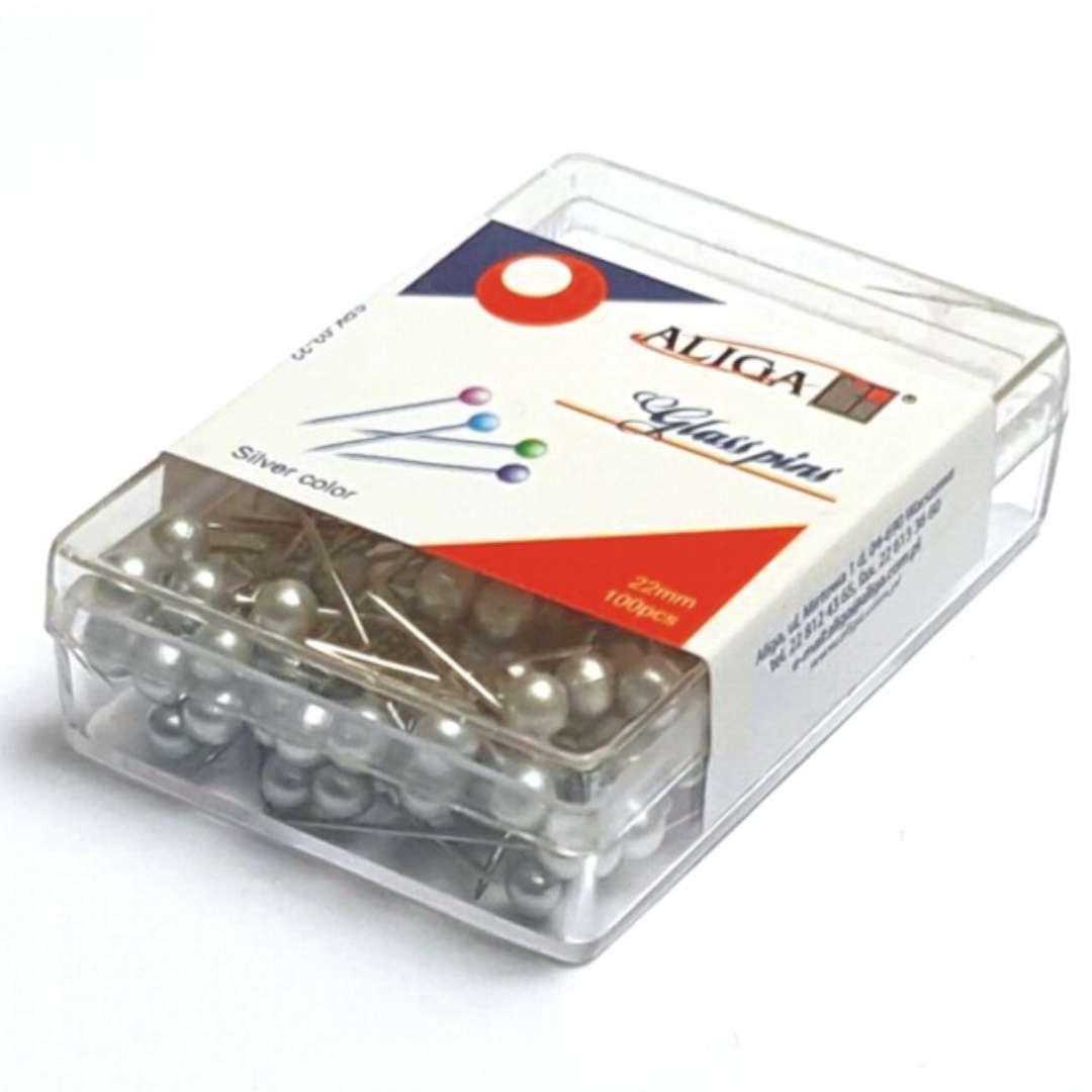 Szpilki Perełki srebrne 22 mm Aliga 100 szt