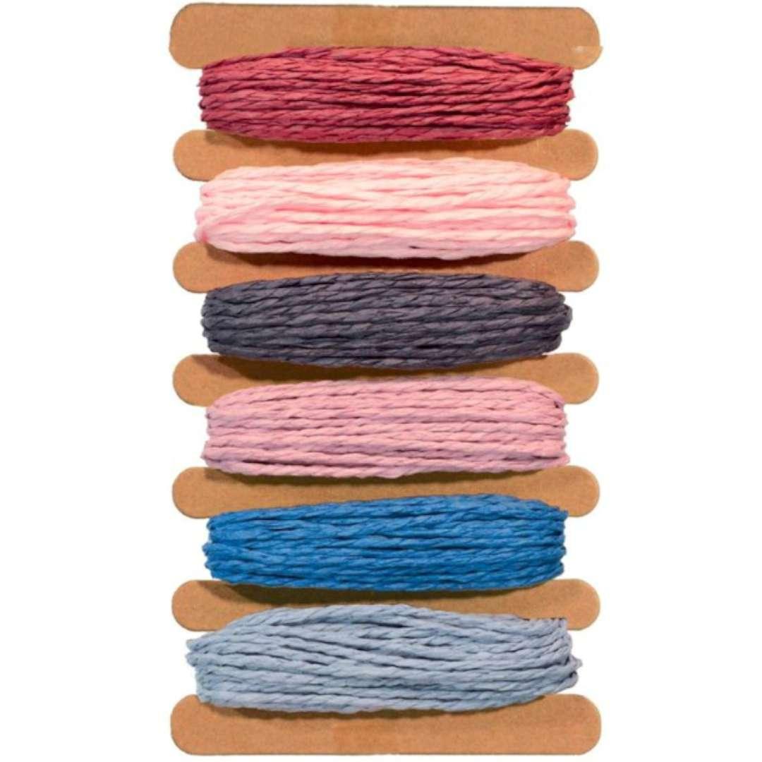 """Sznurek """"Rafia, kolory pastelowe"""", mix,  Aliga, 5 m, 6 szt"""