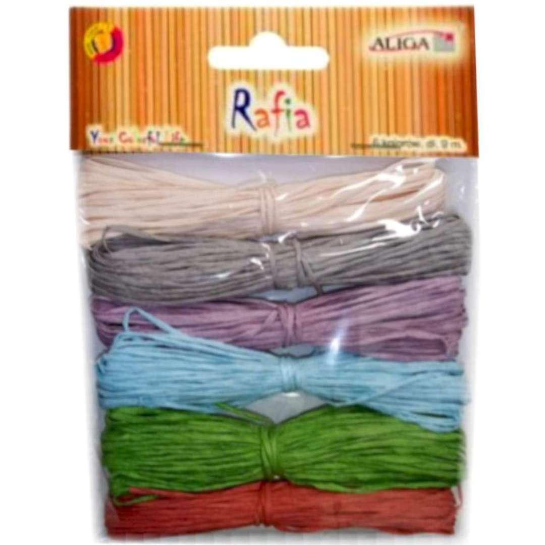 """Sznurek """"Rafia, kolory pastelowe"""", mix, Aliga, 9 m, 6 szt"""