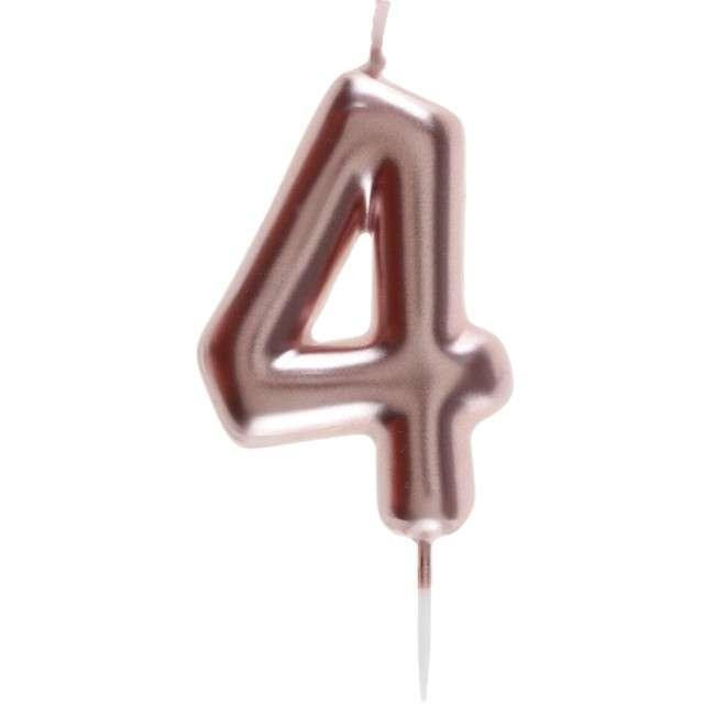 Świeczka Metaliczna cyfra 4 różowe złoto Santex 9 cm