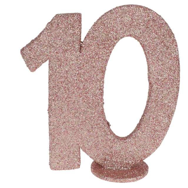 Dekoracja stojąca Brokatowa Liczba 10 różowe złoto Santex 10 cm